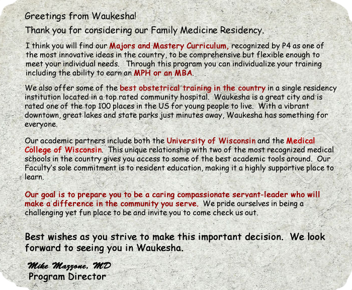 Family Practice Residency Program Waukesha Memorial